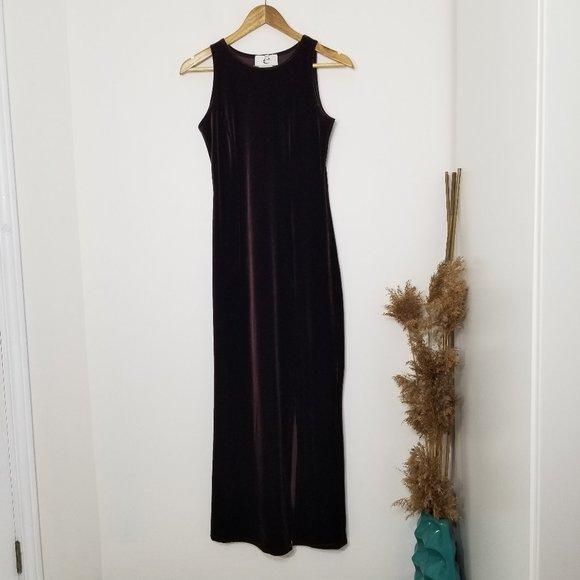 Eaton | Vintage Long Velvet Dress Dark Brown 8